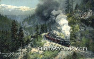 trn001565 - Sacramento Canyon, Mt, Eddy, California, CA USA Trains, Railroads Postcard Post Card Old Vintage Antique