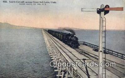 trn001571 - Lucin Cut Off, Great Salt Lake, Utah, UT USA Trains, Railroads Postcard Post Card Old Vintage Antique
