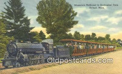 trn001600 - Miniature Railroad Zoological Park, Detroit, Michigan, MI USA Trains, Railroads Postcard Post Card Old Vintage Antique