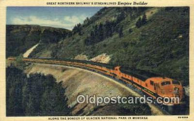 trn001604 - Great Northern Railway Streamlined Empire Builder, Glacier National Park, Montana, MT USA Trains, Railroads Postcard Post Card Old Vintage Antique
