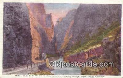 trn001616 - DRGW Train, Hanging Bridge, Royal Gorge, Colorado, CO USA Trains, Railroads Postcard Post Card Old Vintage Antique
