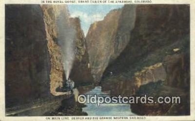 trn001617 - Main Line Denver And Rio Grande, Western Railroad, Royal Gorge, Colorado, CO USA Trains, Railroads Postcard Post Card Old Vintage Antique