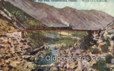 trn001620 - High Bridge Georgetown Loop, Colorado, CO USA Trains, Railroads Postcard Post Card Old Vintage Antique