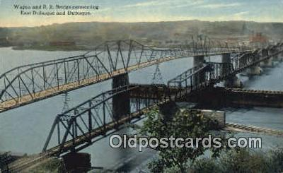 trn001625 - Wagon and RR Bridge, Dubuque Trains, Railroads Postcard Post Card Old Vintage Antique
