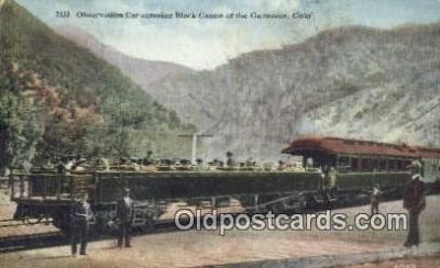 trn001635 - Observation Car, Black Canon, Gunnison, Colorado, CO USA Trains, Railroads Postcard Post Card Old Vintage Antique
