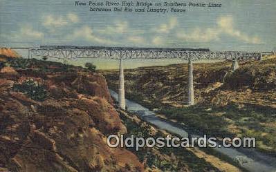 trn001637 - Pecos River High Bridge, Langtry, Texas, TX USA Trains, Railroads Postcard Post Card Old Vintage Antique