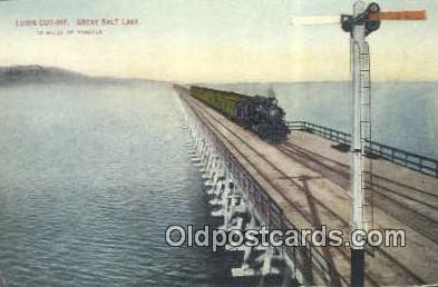 trn001655 - Lucin Cut Off, Great Salt Lake, Utah, UT USA Trains, Railroads Postcard Post Card Old Vintage Antique