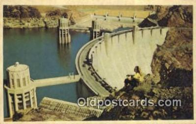 trn001664 - Hoover Dam and Lake Mead, Las Vegas, Nevada, NV USA Trains, Railroads Postcard Post Card Old Vintage Antique