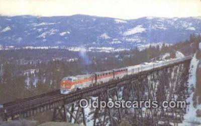 trn001682 - Vista Dome California Zephyr, Sierra Nevada Mountains,  USA Trains, Railroads Postcard Post Card Old Vintage Antique