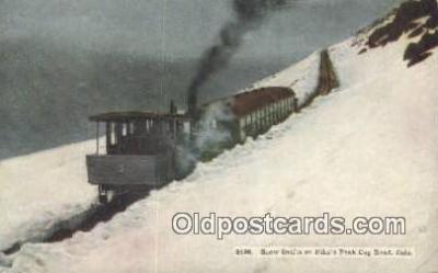 trn001690 - Snow Drifts On Pikes Peak Cog Road, Colorado, CO USA Trains, Railroads Postcard Post Card Old Vintage Antique