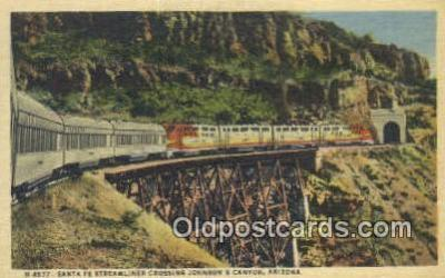 trn001734 - Santa Fe Streamliner, Johnsons Canyon, Arizona, AZ USA Trains, Railroads Postcard Post Card Old Vintage Antique