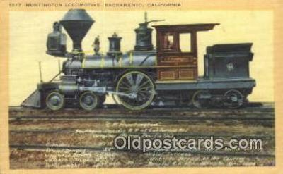 trn001759 - Huntington Locomotive, Sacramento, California, CA USA Trains, Railroads Postcard Post Card Old Vintage Antique