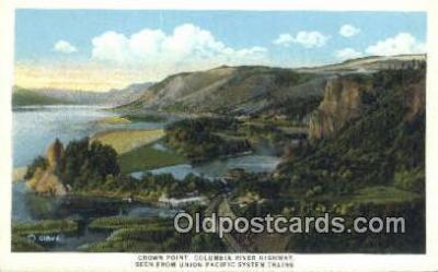 trn001764 - Crown Point, Columbia River Highway, Union Pacific Railroad, USA Trains, Railroads Postcard Post Card Old Vintage Antique