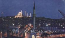 TR00125 - Mosque at night Istanbul, Turkey Postcard Post Card, Kart Postal, Carte Postale, Postkarte Country Old Vintage Antique