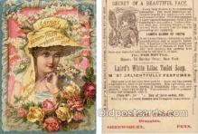 tc000448 - Laird's White Lilac Soap, Bloom of Youth.  J. & E. H. Gerry Druggists, Shrewsbury, Penn. USA Tradecard - Approx Size Inches = 3.25 x 4.25