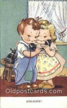 tep001066 - Engaged Telephone Postcard Post Card Old Vintage Antique