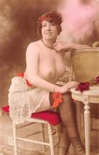 tin000087 - French Tinted Nude Old Vintage Antique Post Card