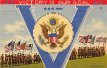 top025039 - Military Victory Linen Post Card