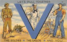 top025041 - Military Victory Linen Post Card