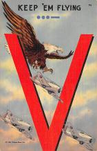 top025047 - Military Victory Linen Post Card