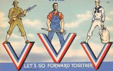 top025053 - Military Victory Linen Post Card