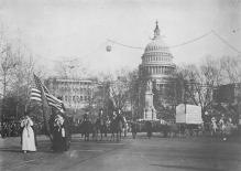 top030653 - Reproduction - Womans Suffrafe Parade up Pennsylvania Ave Womans Rights to Vote Suffragette Vintage Postcard