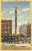 tot001025 - Pioneer Square, Seattle Washington, USA Totem Pole Postcard Post Card Old Vintage Antique