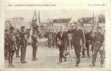tra001246 - Col. Lindbergh Presented with French Flag Early Air Postcard Post Card Old Vintage Antique