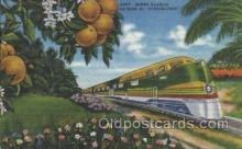 tra006209 - Sunny Florida Train Trains Locomotive, Steam Engine,  Postcard Postcards