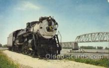 tra006216 - Locomotives located on Quinsippi Island Park Train Trains Locomotive, Steam Engine,  Postcard Postcards
