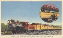 tra006218 - Narrow-Gauge Deadwood Central Train at Chicago Railroad Fair,  Train Trains Locomotive, Steam Engine,  Postcard Postcards