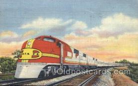 tra006377 - Santa Fe Streamliner Train Trains Locomotive, Steam Engine,  Postcard Postcards