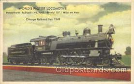 tra006398 - Worlds Fastest Locomotive, Pennsylvania Railroad Train Trains Locomotive, Steam Engine,  Postcard Postcards