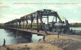 tra006428 - Railway Bridge, Cedar Rapids, Ia, Usa Train Trains Locomotive, Steam Engine,  Postcard Postcards