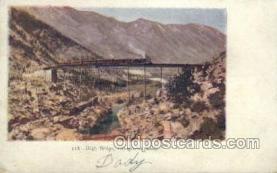 tra006563 - High Bridge Train, Trains, Locomotive, Old Vintage Antique Postcard Post Card