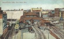 tra006574 - Elevated Station, Boston, MA USA Train, Trains, Locomotive, Old Vintage Antique Postcard Post Card