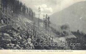 tra006652 - Loop Great Northern RR, WA USA Train, Trains, Locomotive, Old Vintage Antique Postcard Post Card