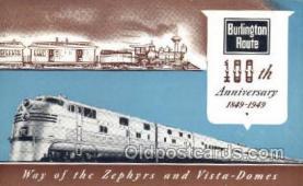 tra006664 - Burlington, USA Train, Trains, Locomotive, Old Vintage Antique Postcard Post Card