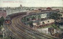 tra006674 - Elevated Railway, New York, NY USA Train, Trains, Locomotive, Old Vintage Antique Postcard Post Card