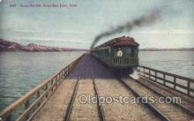 tra006682 - Lucin Cut Off, Great Salt Lake, UT USA Train, Trains, Locomotive, Old Vintage Antique Postcard Post Card