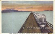 tra006716 - Streamliner, Great Salt Lake, UT , Utah, USA Train Railroad Station Depot Postcards Post Cards