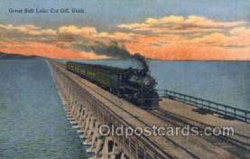 tra006719 - Great Salt Lake Cut Off, Ut, Utah, USA Train Railroad Station Depot Postcards Post Cards