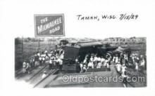 tra006758 - Tamah, Wisc, USA Train Wreck 7/15/1929 Train Railroad Station Depot Postcards Post Cards