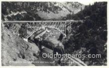 trn001192 - Real Photo - At Pulga In Feather River Canyon, California, CA USA Trains, Railroads Postcard Post Card Old Vintage Antique