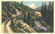 trn001263 - Loop Tunnels 14 And 15 In Siskiyou Mountains, Oregon, OR USA Trains, Railroads Postcard Post Card Old Vintage Antique