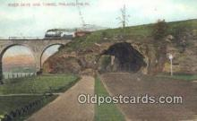 trn001298 - River Drive And Tunnel, Philadelphia, Pennsylvania, PA USA Trains, Railroads Postcard Post Card Old Vintage Antique