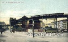 trn001337 - 110th St Elevated Curve, New York, NY USA Trains, Railroads Postcard Post Card Old Vintage Antique