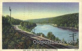 trn001350 - Erie Main Line, Delaware River Trains, Railroads Postcard Post Card Old Vintage Antique