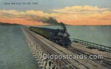 trn001373 - Great Slat Lake Cut Off, Utah, UT USA Trains, Railroads Postcard Post Card Old Vintage Antique