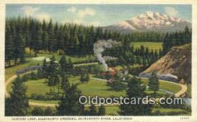 trn001375 - Candara Loop Eighteenth Crossing, Sacramento River, California, CA USA Trains, Railroads Postcard Post Card Old Vintage Antique